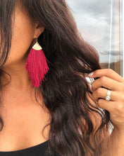 Load image into Gallery viewer, Fringe Tassel Earrings (Wine)