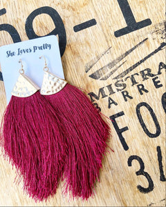 Fringe Tassel Earrings (Wine)