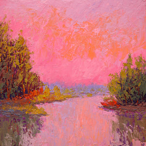 """Lakeside Pink Sky""    Kevin Liang 2018  Original oil on board with frame 18"" x 18"""
