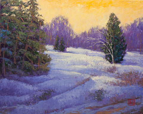 """Winter Shadow""   Kevin Liang 2020  Original oil on canvas with frame 26"" x 32"""