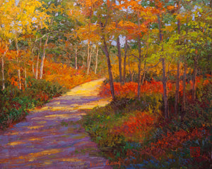 """Autumn Path"" Kevin Liang  2020  Original oil on canvas with frame 26"" x 32""."