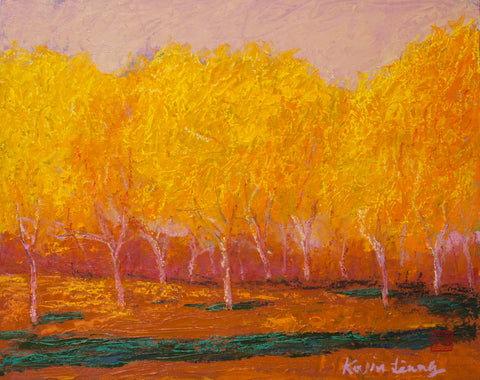 """Yellow Orange and Brown""  Kevin Liang  2020  Original oil on canvas with frame 23""x27"""