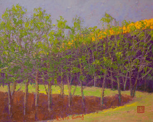 """Purple Hill""  Kevin Liang  2020  original oil on canvas with frame 23"" x 27"""