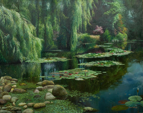 """Waterlily Pond""   Kevin Liang  2003  Original oil on canvas with frame 30"" x 36""."