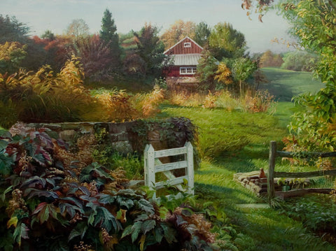 """Farm House in PA""  Kevin Liang  2003  Original oil on canvas with frame 36"" x 46""."