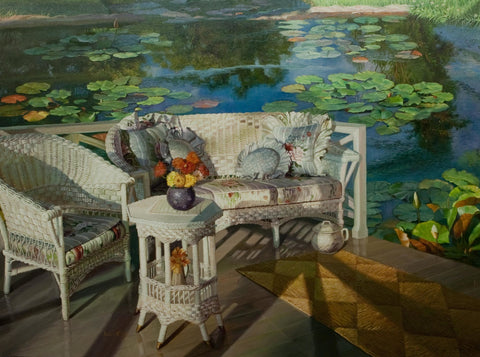 """Summer Pleasure""  Kevin Liang 2003  Original oil on canvas with frame 30"" x 36""."