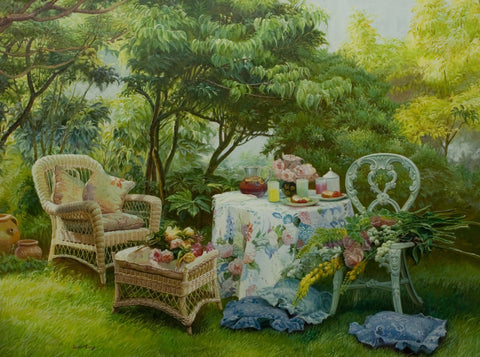 """Summer Garden""  Kevin Liang  2004  Original oil on canvas with frame 36"" x 46""."