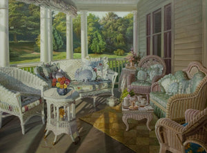 """Summer Porch""  Kevin Liang  2006  Original oil on canvas with frame 36"" x 46""."