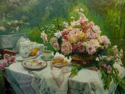 """Tea Break""  Kevin Liang  2006  Original oil on canvas with frame 36"" x 46""."