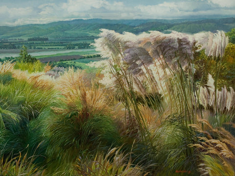 """Summer Vista II""  Kevin Liang  2005  Original oil on canvas with frame 36"" x 46""."
