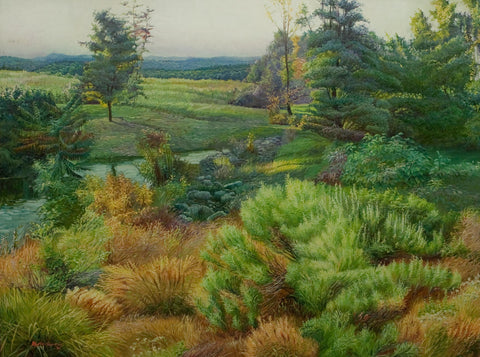 """Summer Vista""  Kevin Liang  2004  Original oil on canvas with frame 36"" x 46""."