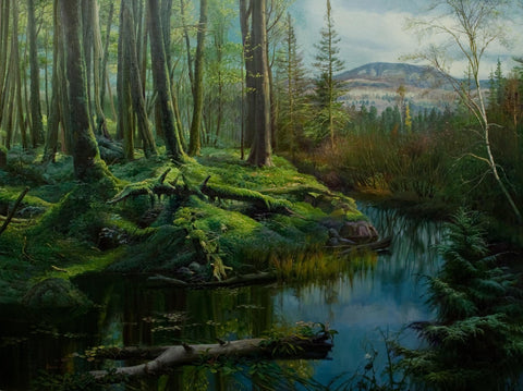 """Morning Light""  Kevin Liang  2004  Original oil on canvas with frame 36"" x 46""."