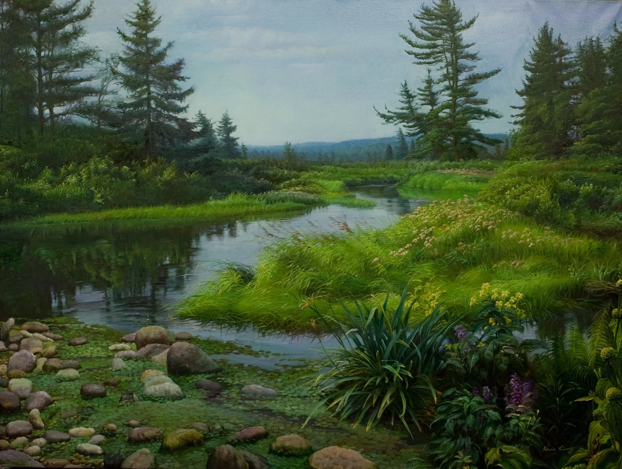 """Waterway""  Kevin Liang  2004  Original oil on canvas with frame 36"" x 46""."
