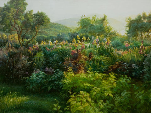 """Vista I""  Kevin Liang  2004  Original oil on canvas with frame 36"" x 46""."