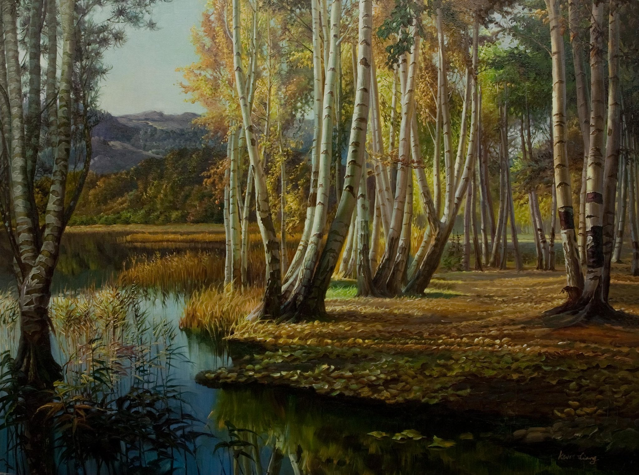 """Autumn Reflection""  Kevin Liang 2005  Original oil on canvas with frame 36"" x 46"".by Kevin Liang"