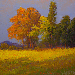 """Summer Light""  Kevin Liang  2020  Original oil on board with frame 24"" x 24""."