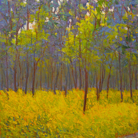 """Spring Afternoon""  Kevin Liang 2020  Original oil on board with frame 24"" x 24""."