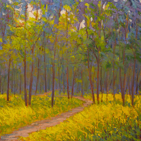 """Spring Path""   Kevin Liang  2019  Original oil on board with frame 24"" x 24""."