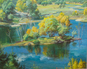 """Late Summer in NH""  Kevin Liang  2005  Original oil on canvas with frame 26"" x 32"""
