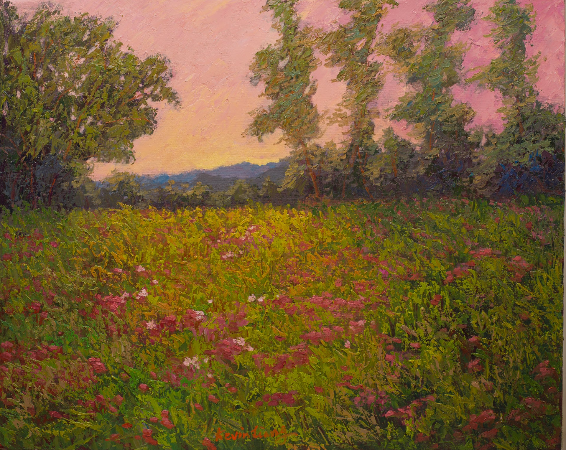 """Wildflowers""   Kevin Liang  2019  Original oil on canvas with frame 26"" x 32"""