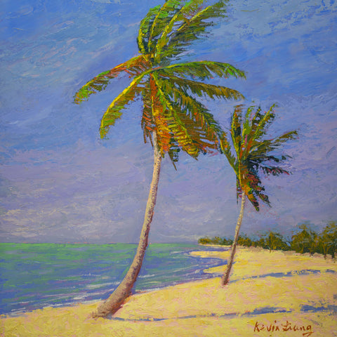 """Sunny  Beach in Key West FL ""  Kevin Liang 2019  Original oil on board with frame 24"" x 24."