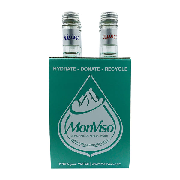 MonViso Natural Mineral Water Glass Bottle Mix 375ml (Pack of 4)