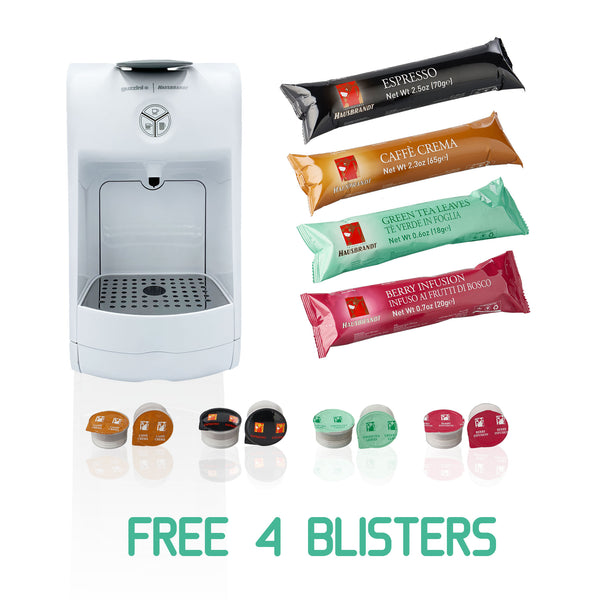 Guzzini Coffee and Infusion Machine (White) | Free Four Blisters of Capsules