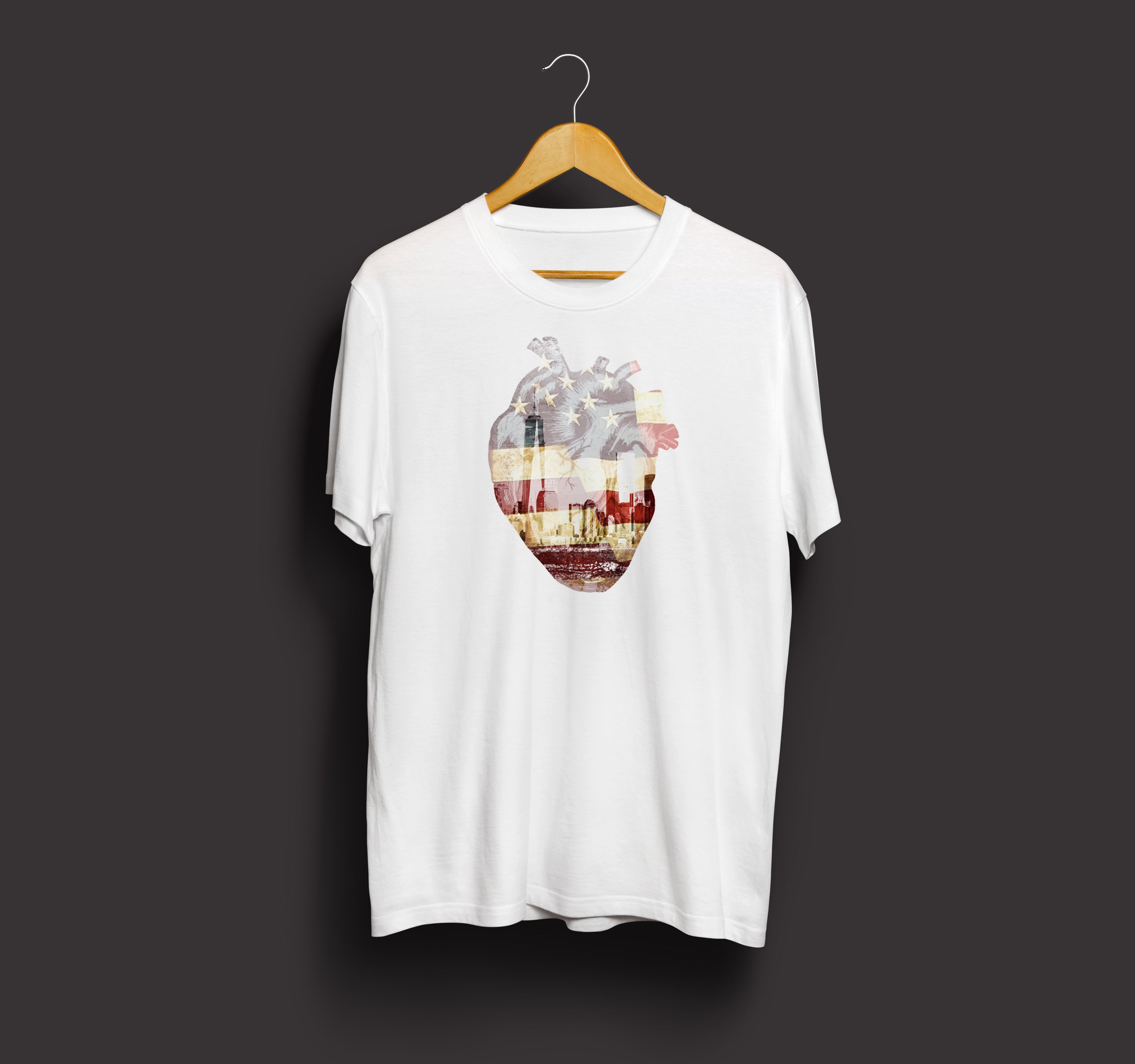 Heart of New York Cotton Crew Neck Vintage Tshirt (White)