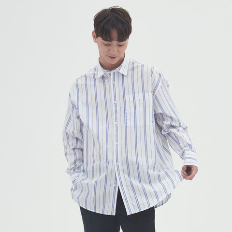 SPAO Man Long Sleeve Loose Stripe Shirt SPYS924C27