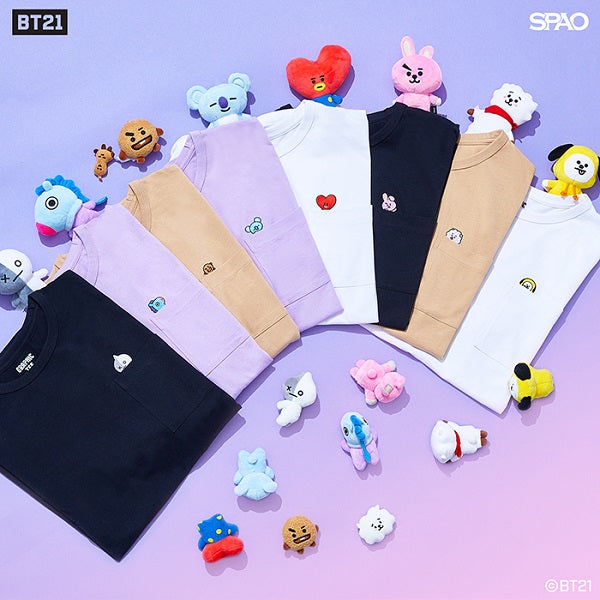 SPAO Unisex Short Sleeve BT21 Pocket Tee SPRL937C72 Black