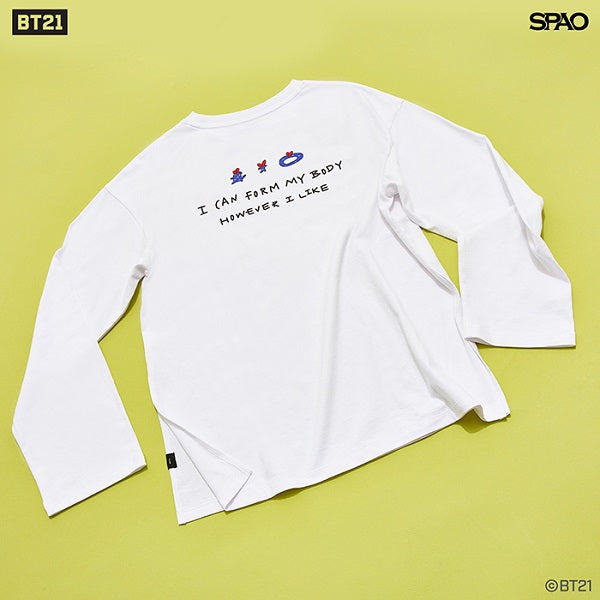 SPAO Unisex Long Sleeve BT21 Oversized Tee SPRL949G01 White