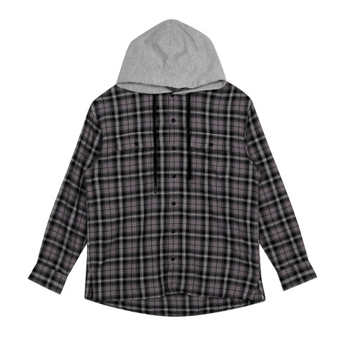 SPAO Man Long Sleeve Hooded Check Shirt SPYCA11C02