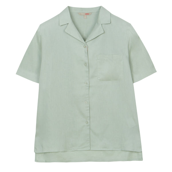 SPAO Women Short Sleeve Linen Open Collar Shirt SPYWA25G05
