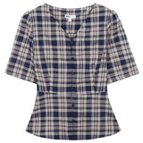 SPAO Women Short Sleeve Button Down Peplum Blouse SPBBA25G17
