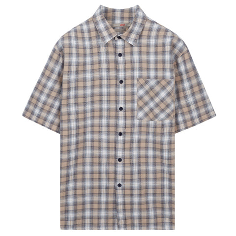 SPAO Men Short Sleeve Summer Check Shirt SPYCA26C42