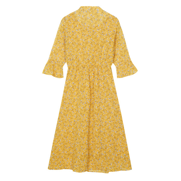 SPAO Woman Long Sleeve Chiffon Flower Long Dress SPOWA24G51