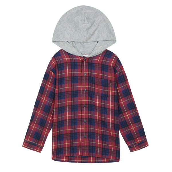 SPAO Kids Long Sleeve Hooded Check Shirt SPYCA49KU1
