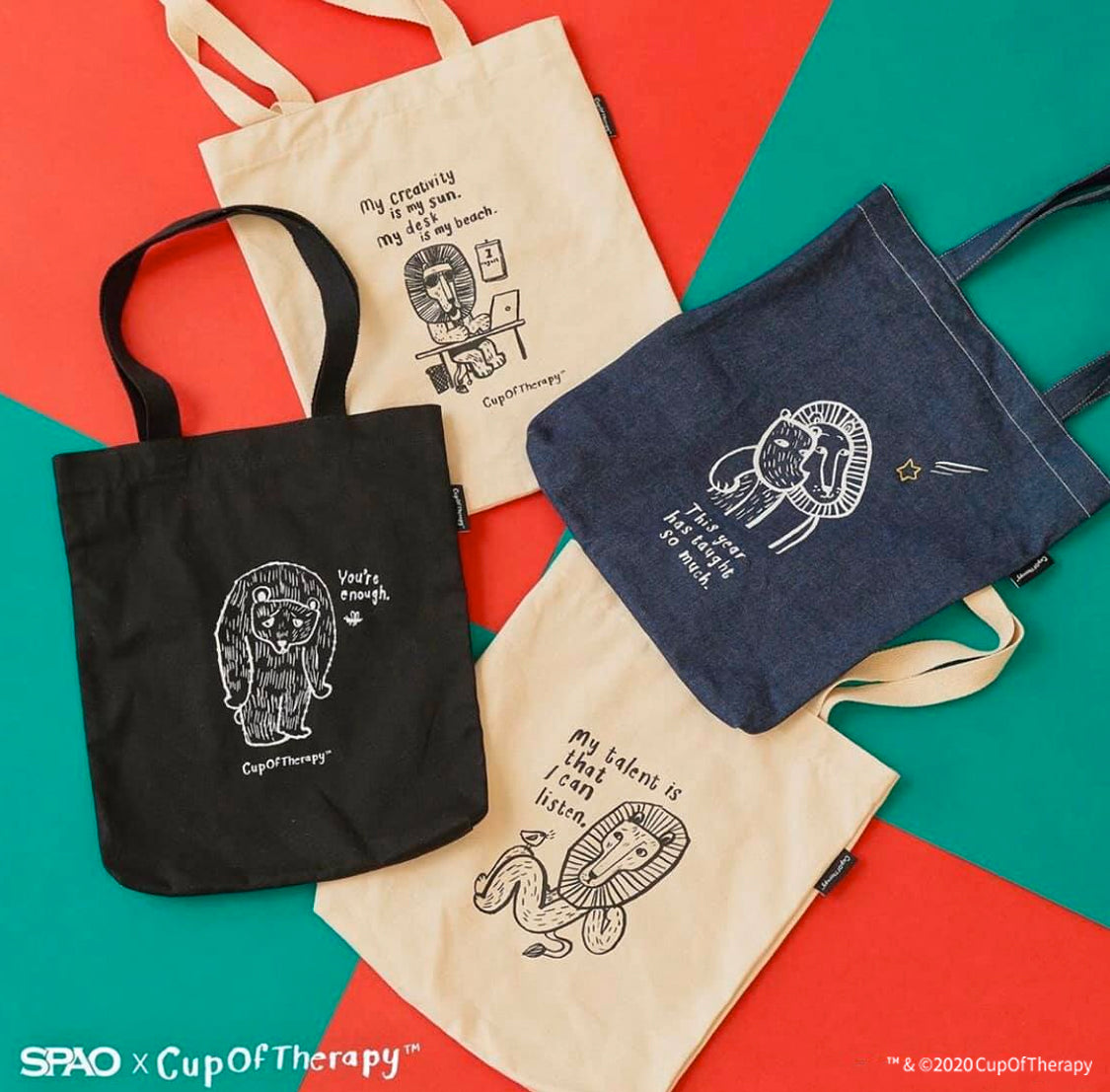 SPAO Unisex Cup of Therapy Tote Bag SPAKA21A90 Dark Indigo