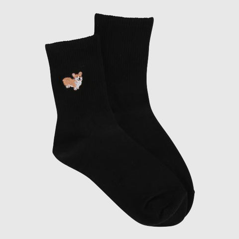 SPAO Unisex Animal Embroidery Ribbeb Crew Length Socks SPAYAA3D14