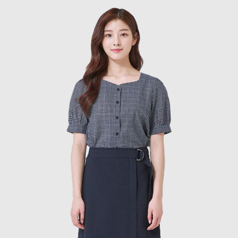 SPAO Women Short Sleeve Picnic Button Blouse SPBBA25G02