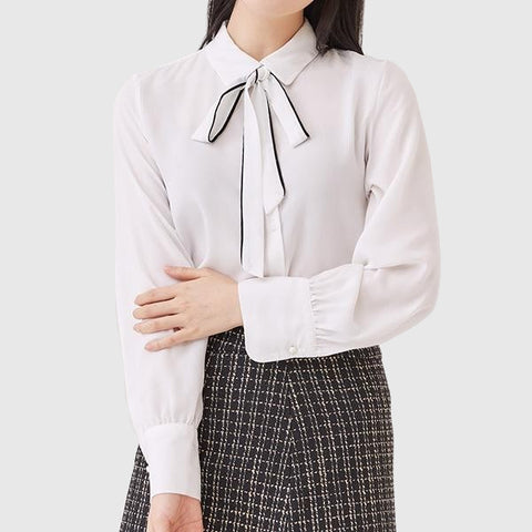 SPAO Woman Long Sleeve Ribbon Tie Blouse SPBWA12G01