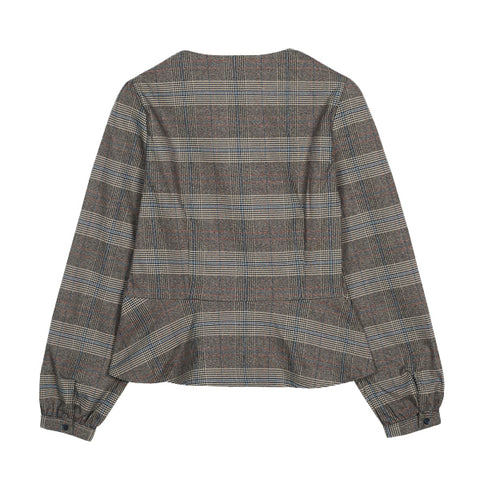 SPAO Women Long Sleeve Button Down Check Blouse SPBWA4TW12
