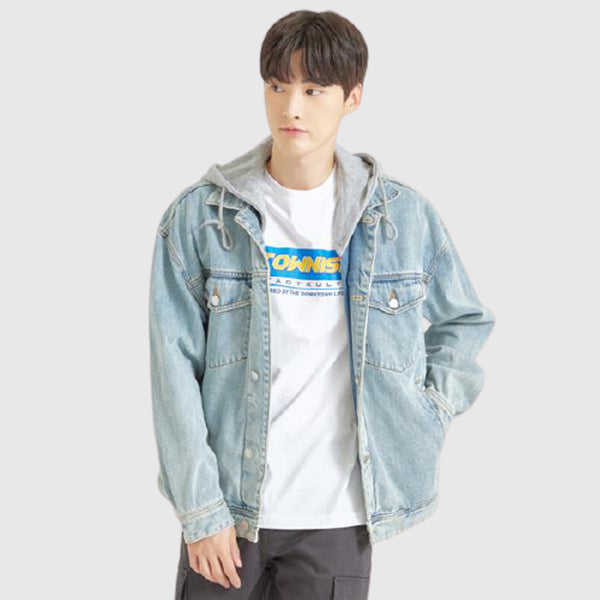 SPAO Men Long Sleeve Hooded Denim Jacket SPJEA49C01
