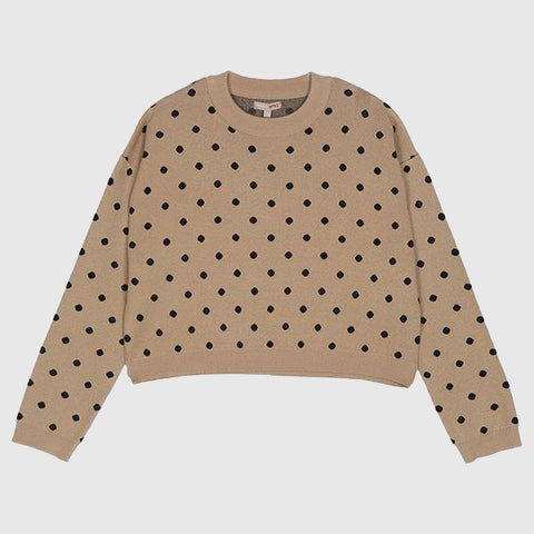 SPAO Woman Long Sleeve Dotted Crop Sweater SPKWA12G34