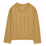 SPAO Women Long Sleeve V Neck Cable Sweater SPKWA4TG15