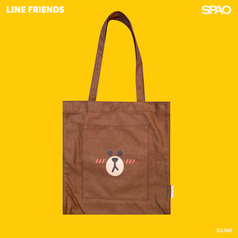 SPAO Unisex Line Friends Tote Bag SPLCA25A02 Brown