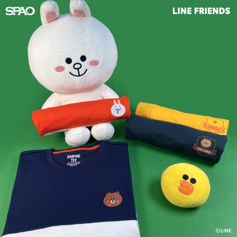 SPAO Unisex Short Sleeve Line Friends Embroidery Tee SPLCA25C01 Yellow