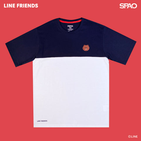 SPAO Unisex Short Sleeve Line Friends Embroidery Tee SPLCA25C01 Navy