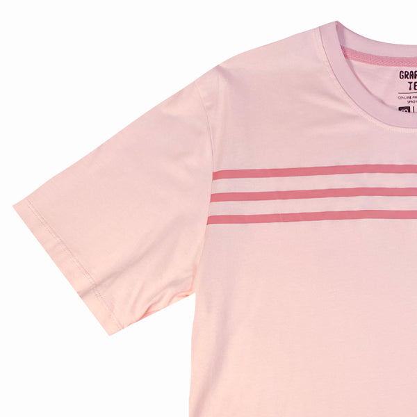 SPAO Unisex Short Sleeve Line Friends Striped Tee SPLCA25C02 Light Pink