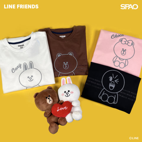 SPAO Unisex Short Sleeve Line Friends Graphic Tee SPLCA25C03 White